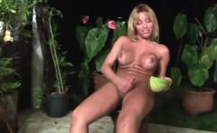 Big ass latina shemale cums hard after pounding a watermelon