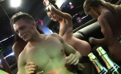 Partying college sluts group fuck dude in club