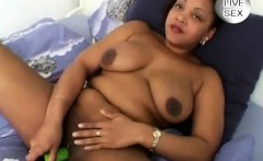 Ebony plumper plays with a sneaky dildo to please her wet