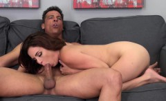 Big breasted brunette nympho Ashlee relishes a hard pounding on camera