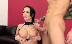 Busty brunette Alektra Blue is getting pounded and toys her twat