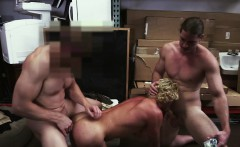 Curly hunk surprised by two horny cock