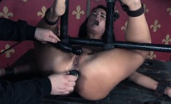 Restrained sub slut pussy and ass toyed