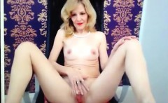 Attractive blonde milf on cam shows off te and her moist va