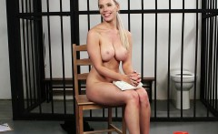 Busty officer babe gets perfect load on face