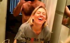 blonde wife getting anal inside the toilet