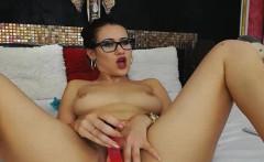 Hot Nerdy Babe Dildo Fucks Her Tight Pussy