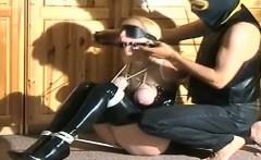 Cute blonde teen tries boobs bondage with abusive boyfriend