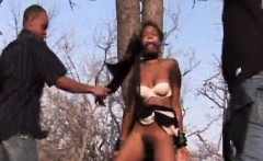 black girl outdoor bondage by two horny dude