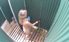 Czech Blonde Milf Cought in Public Shower