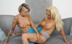 Big tits mom and pretty teen fondling and fingering pussies