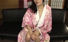 Subtitled amateur Japanese lady in kimono masturbation talk