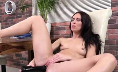 Glamorous cutie is pissing and finger fucking trimmed twat