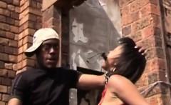 Ebony hottie giving head to master fat cock