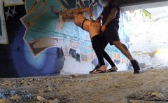 Tattooed blonde fucks cop in underpass
