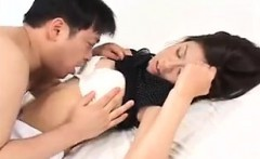 Beautiful Japanese wife surrenders her sweet body to her ho