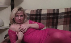Hot milf in a red outfit loves teasing