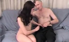 Stroking between an older guy and hottie with little breast
