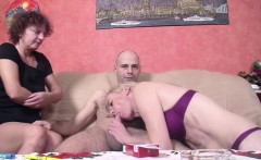Two German MILF Teach Young Virgin Boy to Fuck