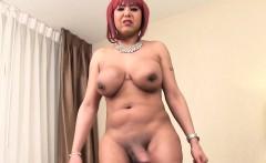 Ebony redhead trans with bigtits tugging solo