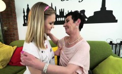 Naughty Lucette in lesbian action with granny Pixie