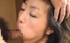 Young oriental wench works cock at home in video