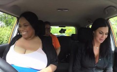 Fat ebony student licks driving examiner