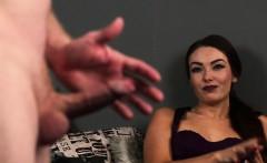 Classy british voyeur makes her cfnm sub tug