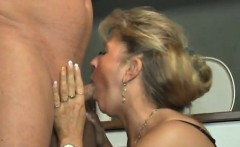 sexy busty blonde woman squeezes boobs and fucks