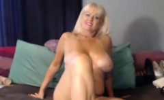 Mature blonde with toys