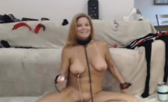 Horny MILF Deepthroat and Gagging while Tied Up