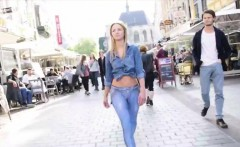 Amateur model in public nudity and outdoor dildo