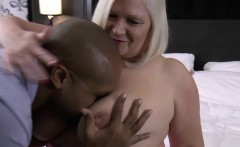 Big boobed grandma chokes on black cock