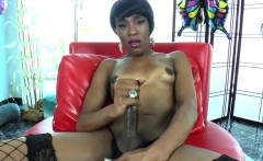 Natural black tgirl milks her cock solo