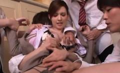 Oriental girl gets down and gives teacher a steamy blow job