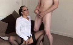 Spex domina sucking naked guys cock