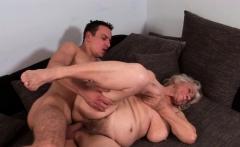 Chubby grandma jizzed on hairy pussy