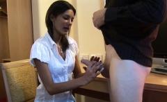 Cute babe teasing naked guys dong