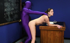 Kinky sex kitten gets jizz load on her face eating all the c
