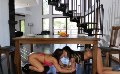 Teenage lesbians pussylick in sensual couple