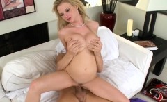 Seductive babe with large tits gives handjob and rides