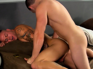 Ass fucked stud Sean Duran gets drilled by muscle Angel Rock