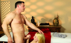 Massage beauty sucking masseur before fucking