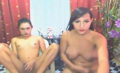 Two Tranny Friends Cocks Jerking On Webcam