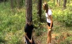 Girls kicks men with sneakers