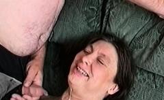 Cum on grandma's mouth