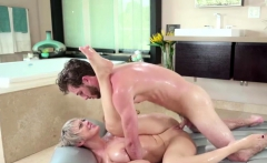 Blonde milf gives a massage and bigcock a blowjob