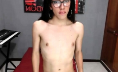 Amateur brunette teases and flashes her small tits on webcam