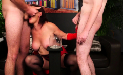 Peculiar peach gets cumshot on her face eating all the semen