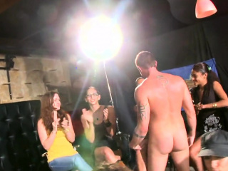 Real busty MILF cocksucking at stripper party